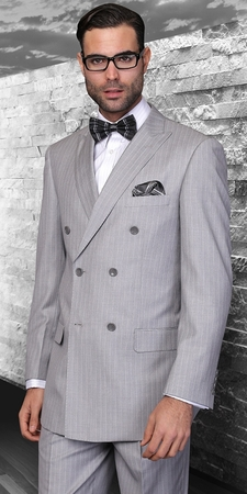 Statement Italian Wool Double Breasted Suits Grey Pinstripe SD-300 - click to enlarge