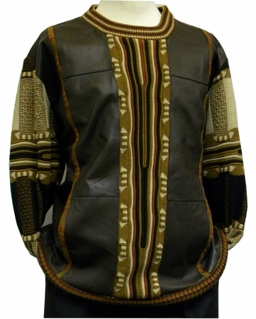 Steven Land Brown Lambskin Leather Front Sweaters SL 213  - click to enlarge