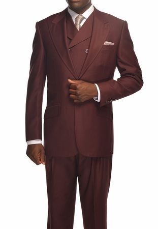 Tiglio Rosso Suit Mens Burgundy Italian Wool Wide Leg OS - click to enlarge