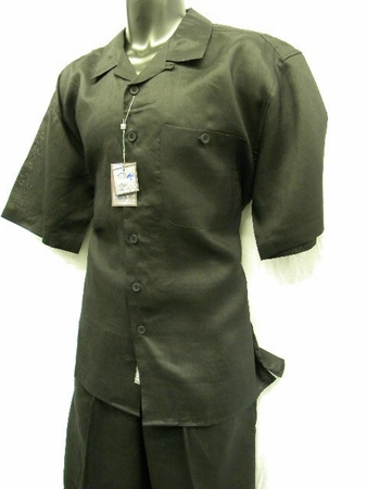 Trust Mens Big Size Black Linen Casual Outfit L601P - click to enlarge