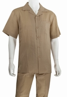 Mens Linen Leisure Suit Light Brown Walking Set Blue Jazz RMSO