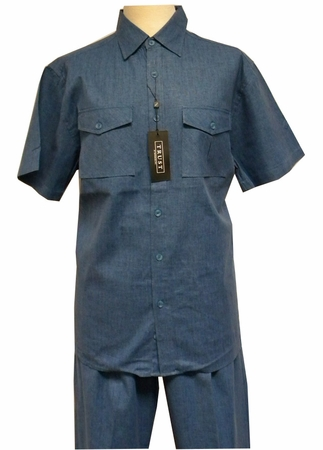 Trust Mens Teal Blue Heather Linen 2 Piece Walking Suit  - click to enlarge