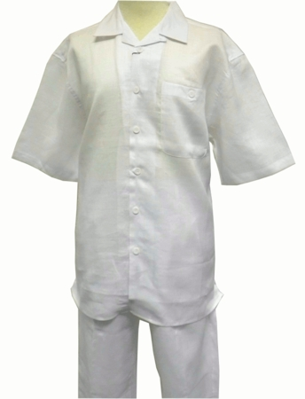 Trust Mens All White Linen Walking Suits Outfit L601SP - click to enlarge