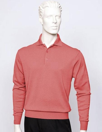Tulliano Mens Coral Silk Polo Sweater Fine Knitwear Marc 8517 - click to enlarge