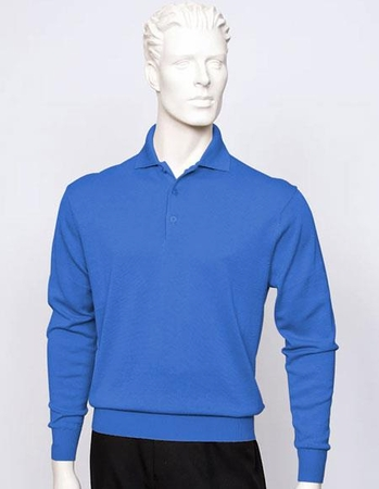 Tulliano Mens Denim Blue Silk Polo Sweater Fine Knitwear Marc 8517 - click to enlarge
