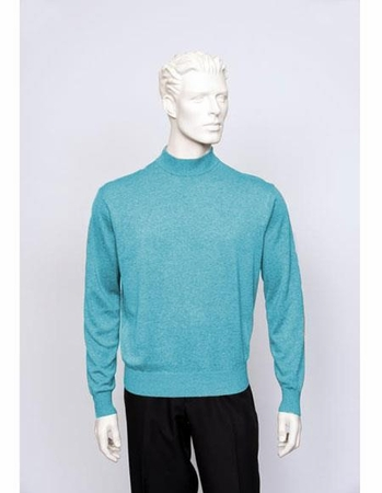 Tulliano Mens Heather Blue Silk Mock Neck Sweater Fine Knitwear Brighton 8516 - click to enlarge