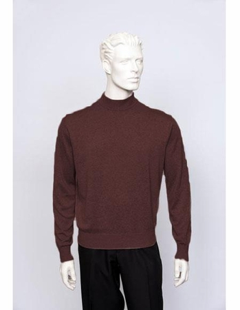 Tulliano Mens Plum Silk Mock Neck Sweater Fine Knit Brighton 8516 - click to enlarge
