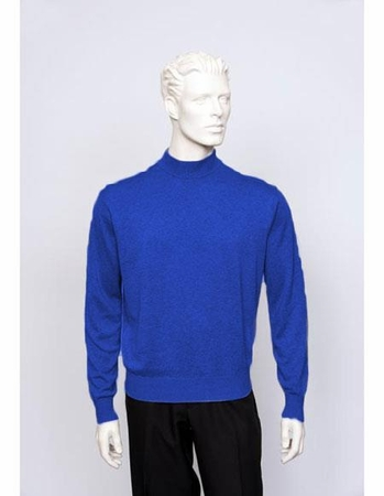 Tulliano Mens Silk Mock Neck Sweater Royal Blue Fine Gauge Knit Brighton 8516 - click to enlarge