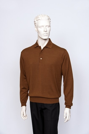 Tulliano Mens Silk Polo Sweater Cognac Fine Gauge Knit Marc 8517 - click to enlarge