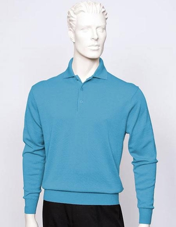 Tulliano Mens Silk Polo Sweater Heather Fine Gauge Knit Marc 8517 - click to enlarge