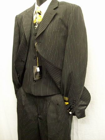 Umberto Bonelli Mens Black Pin Stripe Three Piece Suit 122-01 - click to enlarge