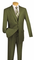 Vinci 3 Piece Suit Mens Olive Green Window Pane Fabric V2RW-11