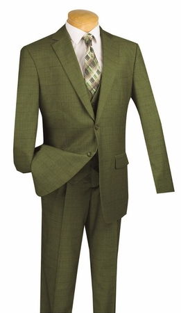 Vinci 3 Piece Suit Mens Olive Green Window Pane Fabric V2RW-11 - click to enlarge