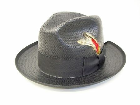 Untouchable Mens Black Straw Fedora Dress Hat 8831 - click to enlarge