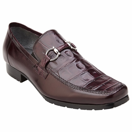 Belvedere Shoes Mens Burgundy Alligator Top Gucci Style Loafer Plato - click to enlarge