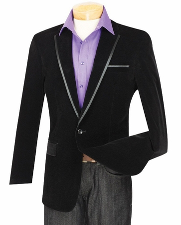 Velvet Blazer by Vinci Mens Black 1 Button Blazers B-16  - click to enlarge