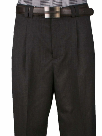 Veronesi Mens Fine Wool Wide Leg Dress Pants Charcoal 666115 - click to enlarge