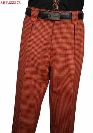 Veronesi Mens Rust Plaid Wool Wide Leg Dress Slacks 555175 - click to enlarge