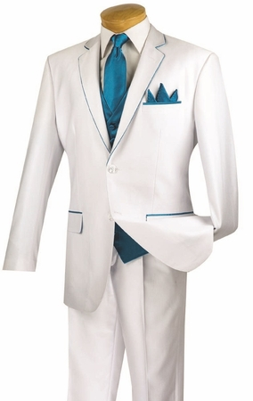 Vinci 5 Piece White Turquoise Special Occasion Suit 23SS-4 - click to enlarge