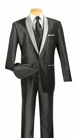 Vinci Black Shiny Shawl Collar Evening Fashion Suit S-RR - click to enlarge