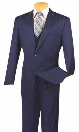 Mens 3 Piece Suit Regular Fit Blue Tone Stripe Vinci V2TT-8 - click to enlarge