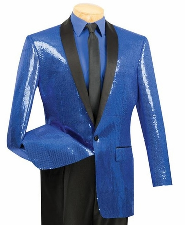 Vinci Mens Blue Sequin Jacket BSQ-1 - click to enlarge
