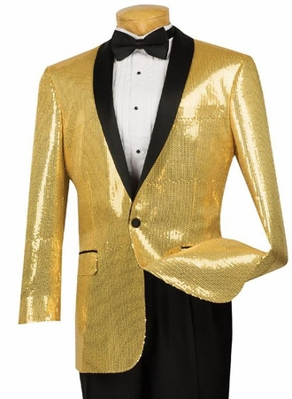 Vinci Mens Gold Sequin Jacket Blazer BSQ-1  - click to enlarge