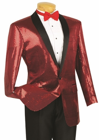 Vinci Mens Red Sequin Jacket Blazer NBSQ-1 - click to enlarge