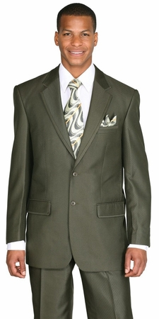 Men's Shiny Sharkskin Suit Olive 2 Button Flat Front 57021 - click to enlarge