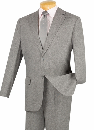 Vinci Mens Gray 2 Button Suits Textured Fabric 2KK-1 - click to enlarge
