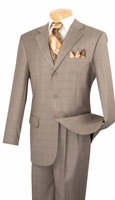 Vinci Mens 3 Button Suit Tan Beige Window Pane Plaid 3RW-15