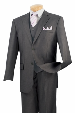 Vinci Mens Big and Tall 2 Button 3 Piece Suit Extra Long V2TRL - click to enlarge