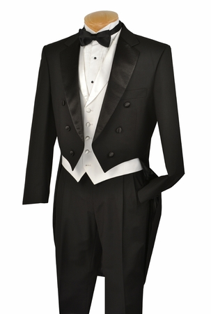 Vinci Mens Black with White Vest Tuxedo with Tails T-2X - click to enlarge