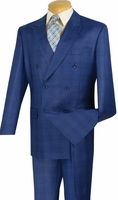 Vinci Mens Blue Subtle Plaid Double Breasted Suit DRW-1 Final Sale 54 Reg