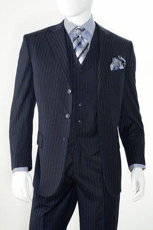 3 Button Wool Navy Pinstripe 3 Piece Suit by Alberto 3BVP-1 - click to enlarge