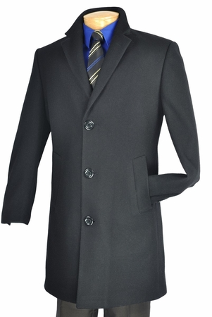 Vinci Mens Car Length Black Cashmere Blend Topcoat CS38-1 - click to enlarge