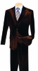 Vinci Mens Coffee Brown Velvet Suit 3 Piece Velour Pleated Pants V2VV-1