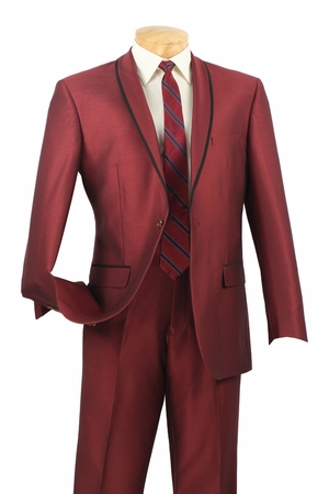 Vinci Mens Night Time Maroon 1 Button Rounded Collar Slim Fit Suit SSH-1 - click to enlarge