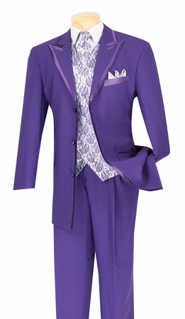 Vinci Mens Purple 5 Piece Fancy Suit 33RR-4 - click to enlarge
