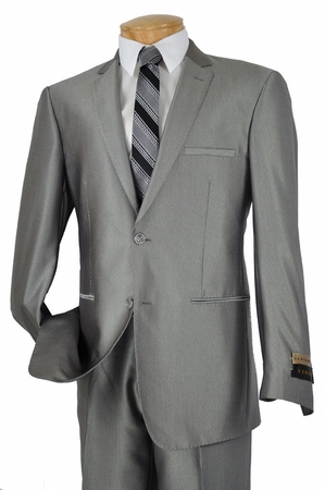 Vinci Mens Gray Fine Narrow Pinstripe Italian Slim Fit Suits S2RS-5 - click to enlarge