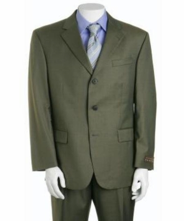Mens Olive Green Wool Suit 3 Button Super 150s Alberto 3BVP-1 2pc - click to enlarge