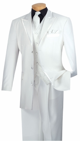 Vinci Mens White 5 Piece Fancy Suit 33RR-4 - click to enlarge