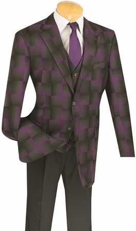 Vinci Mens Purple Giant Plaid 3 Piece Fashion Suit 23WP-2 - click to enlarge