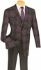 Vinci Mens Purple Giant Plaid 3 Piece Fashion Suit 23WP-2