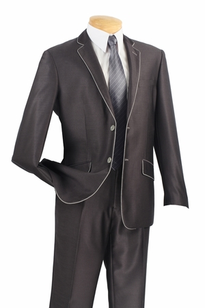 Vinci Young Mens Slim Fitted Style Charcoal White Edged Suit S2PN-1 - click to enlarge