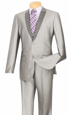Vinci Mens Slim Fit Gray Shiny Sharkskin Tux Style Suit S2PS-1 - click to enlarge