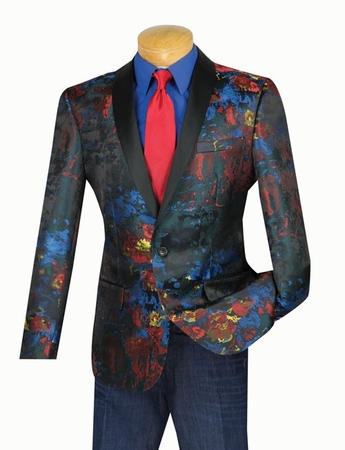 Vinci Mens Slim Fit Multi Color Tuxedo Blazer BSF-4 - click to enlarge