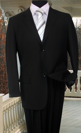 Vinci Mens Solid Black 2 Button Suit with Flat Front Pants 2C900-2 - click to enlarge