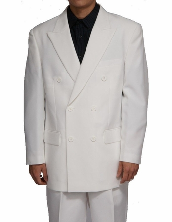 Mens Solid White Double Breasted 6 Button Dress Suit DPP - click to enlarge