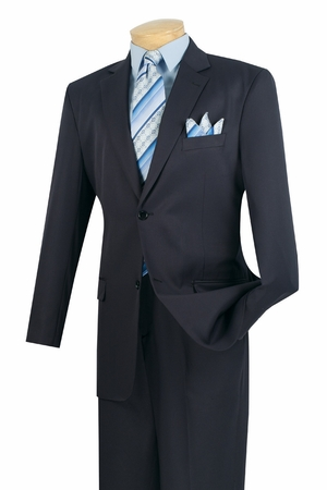Vinci Mens Solid Navy 2 Button Suit with Plain Front Pants 2C900-2 - click to enlarge